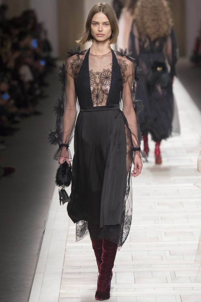 robe nouvel an robe de fete fluide robe noire dentelle longueur sous le genou Fendi 2017