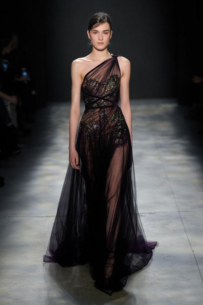 robe fluide robe de fete robe pour noel Marchesa Notte une épaule dévoilée combinaison avec de la dentelle verte