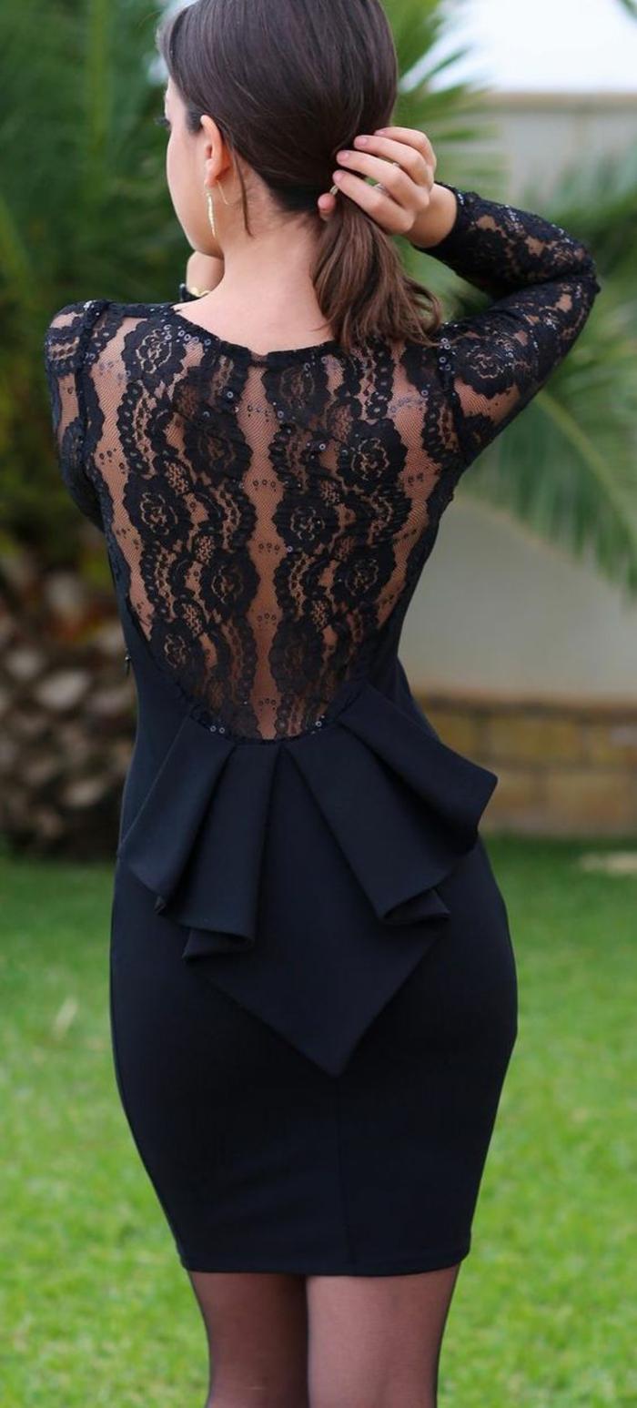 robe de fete robe noire dentelle au dos transparent longueur mini