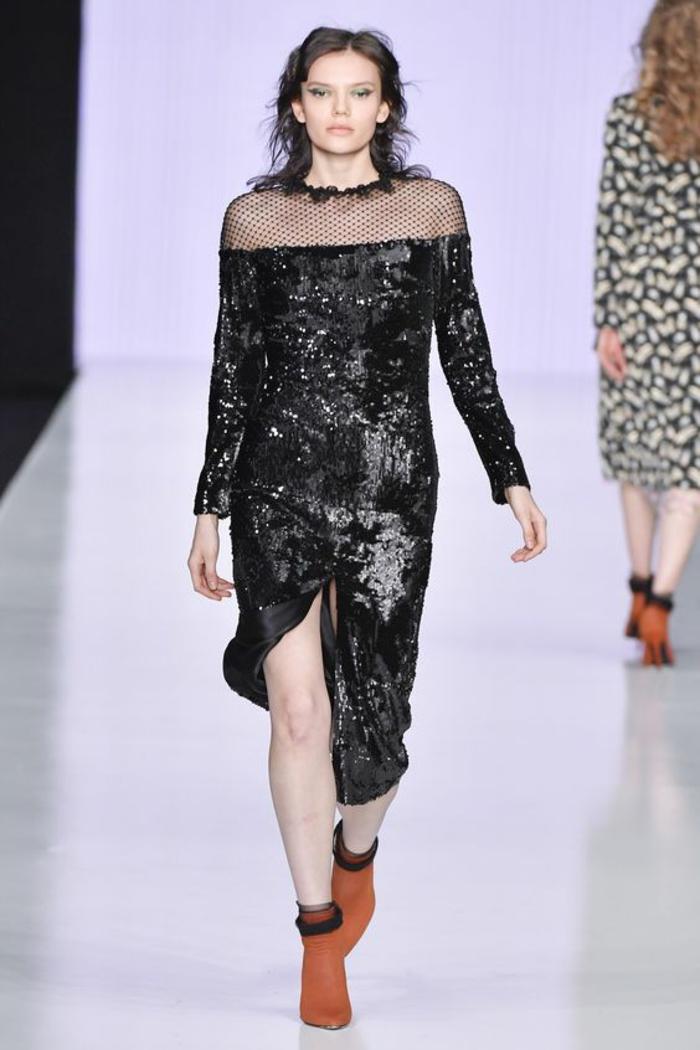 robe en dentelle robe noire pour les fetes Minochkina tissu brillant