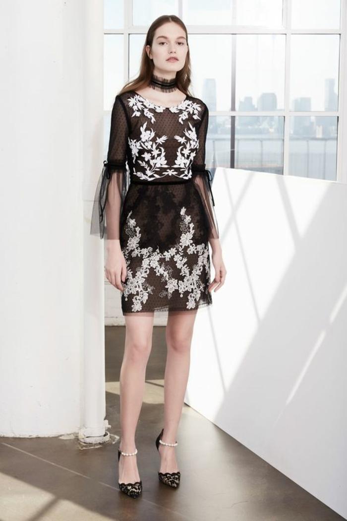 robe courte robe nouvel an Marchesa Notte combinaison avec de la dentelle blanche