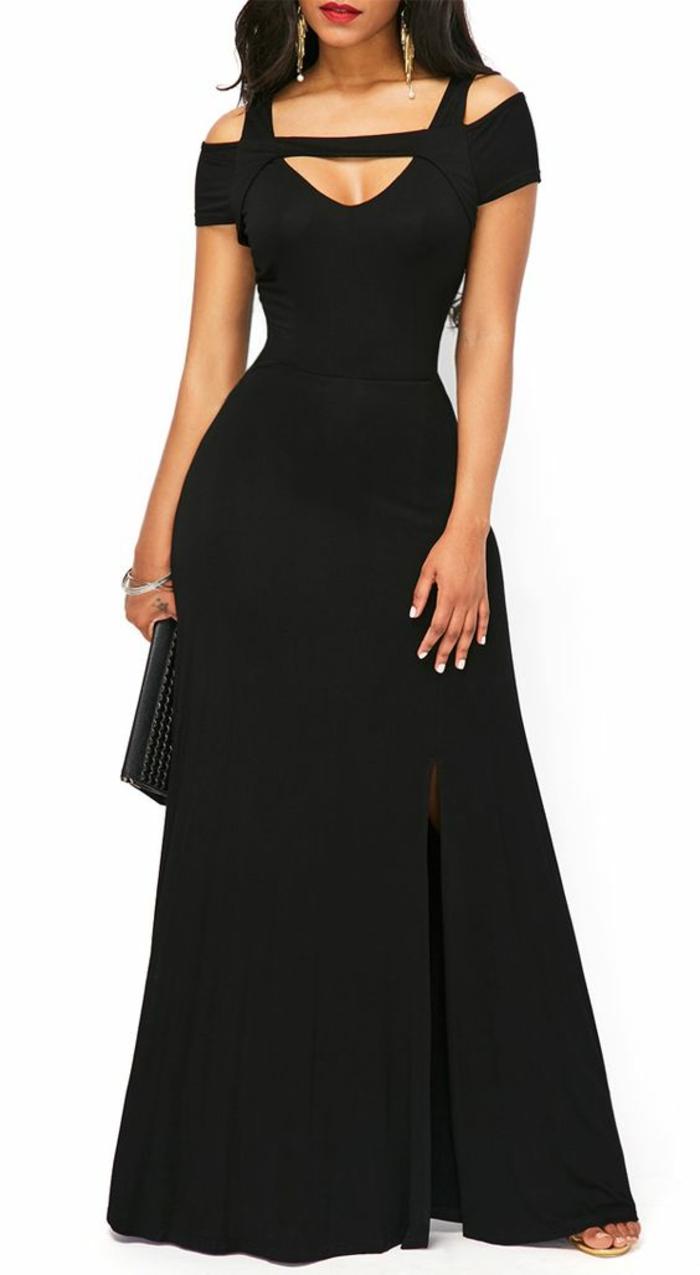 robe soirée noire fente du cot gauche avec décolleté très original