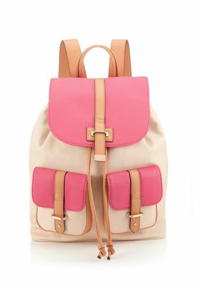 sac a dos vintage en couleurs bonbon pastels rose et blanc crème pratique avec deux grandes poches devant