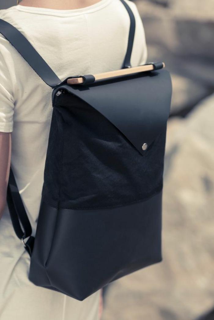 sac a dos noir en forme rectangulaire avec poignée en bois type cartable stylisée