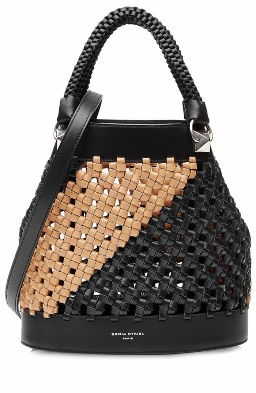 sac a dos vintage en noir et beige avec poignée tressée et bandoulière longue Sonya Rikiel