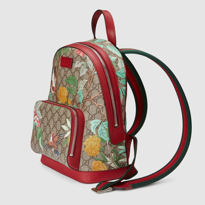 sac à dos cuir femme vintage en rouge et imitation broderies avec des fleurs et des oiseaux