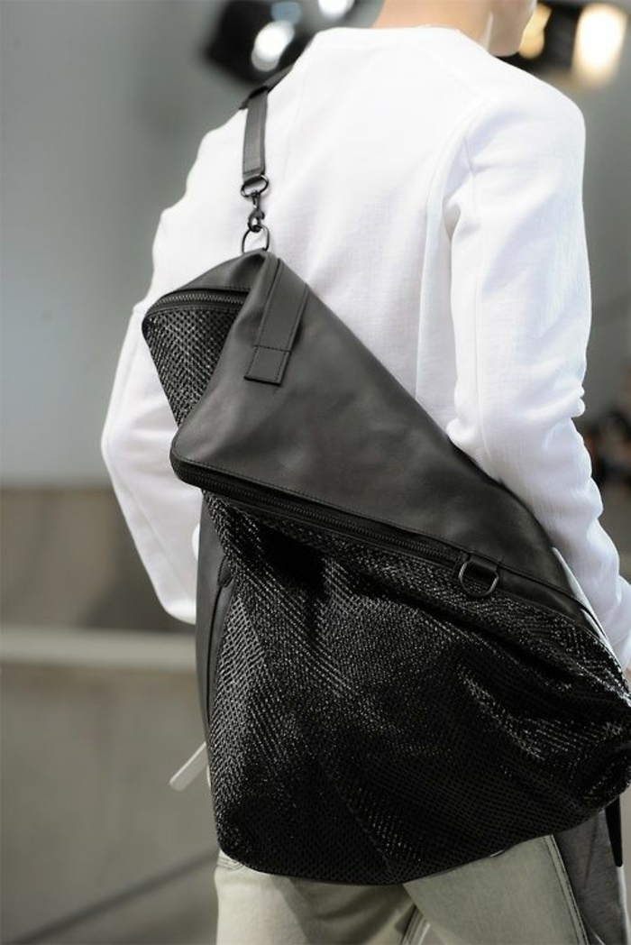 sac a dos noir en forme de pochette grand format a la forme moelle avec poignée pour etre portée