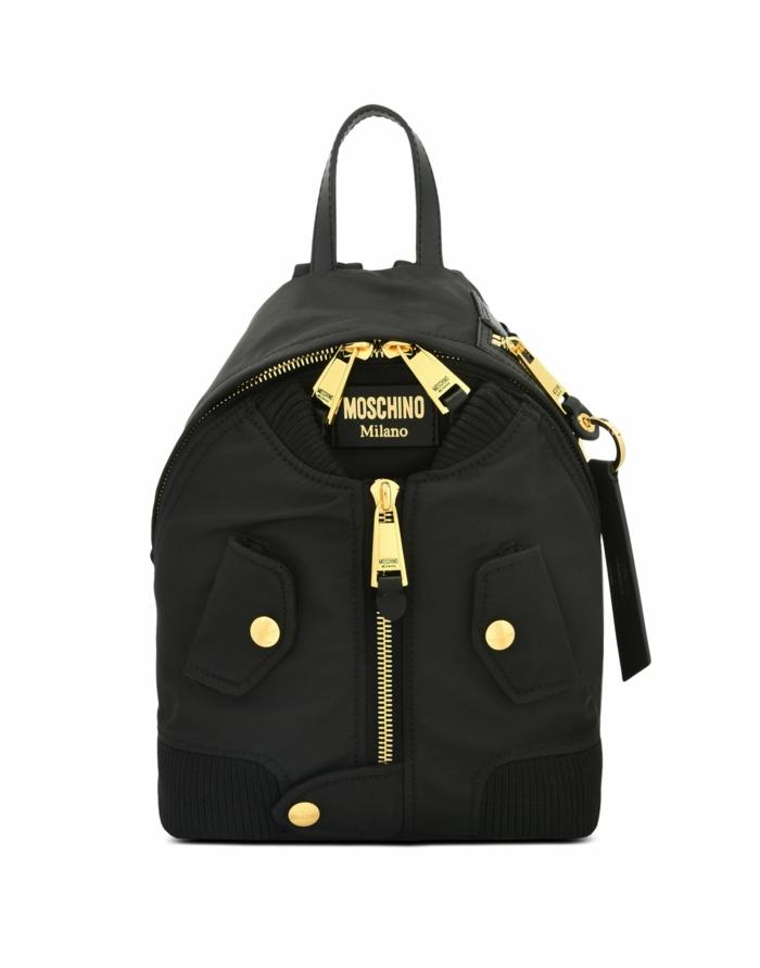 sac a dos vintage Moschino avec 3 grandes fermetures éclair et un look habillé imitation de devant de chemise élégante