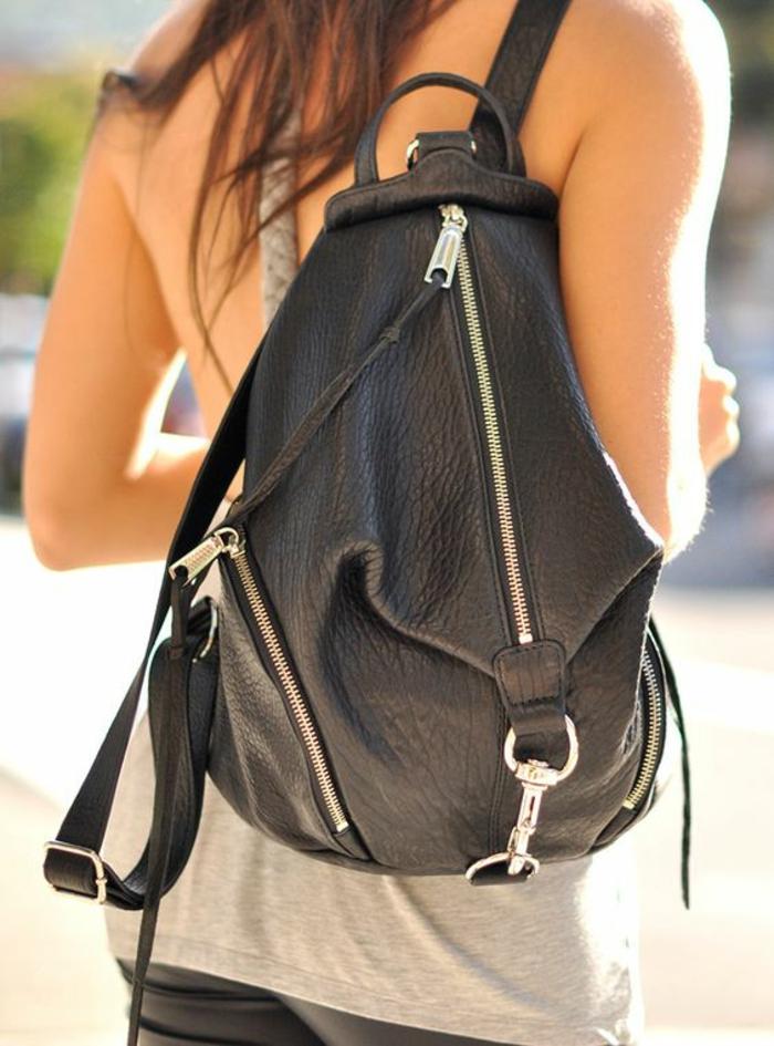 sac a dos vintage en imitation cuir avec 3 grandes fermetures éclair