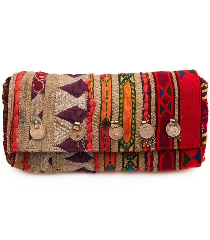 sac a main besace, pièces de monnaie décoratives, motifs ethniques