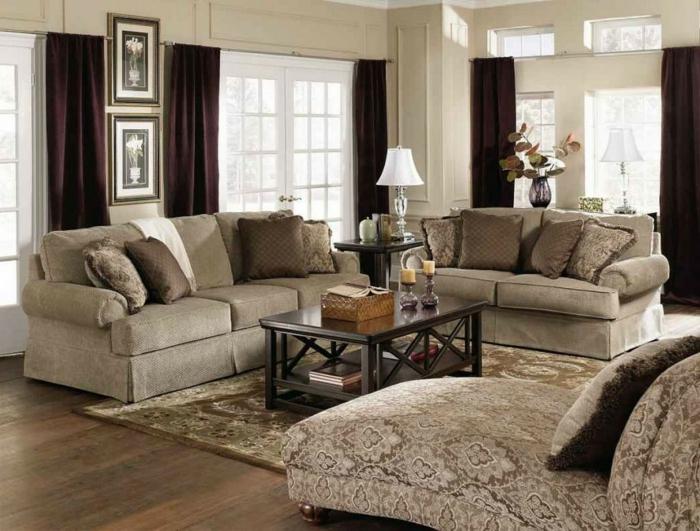 salon cosy, intérieur élégant aux couleurs neutres, table rectangulaire, grandes fenêtres