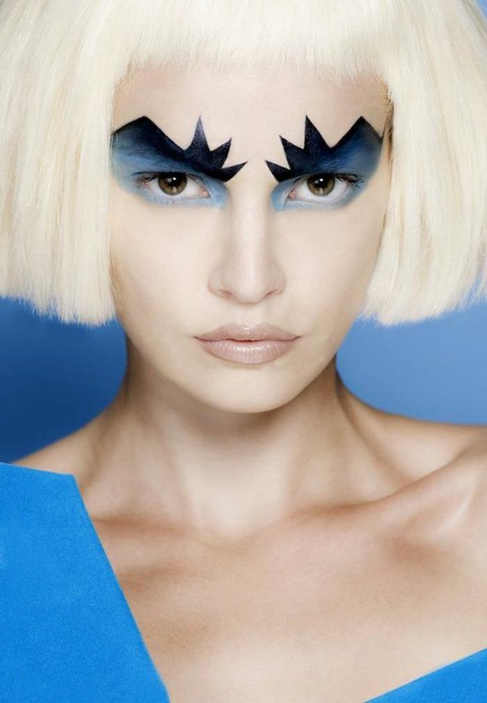 comment se maquiller les yeux d'une manière extravagante en bleu et gris avec des motifs géométriques
