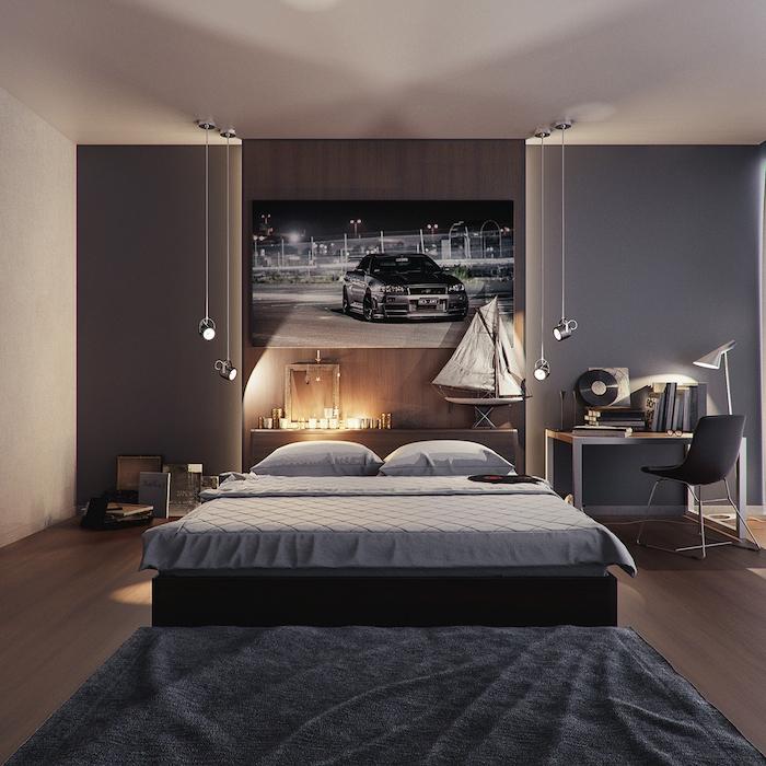 décoration chambre masculine aux couleurs neutres, plafond blanc et murs gris, bureau en bois avec chaise noire