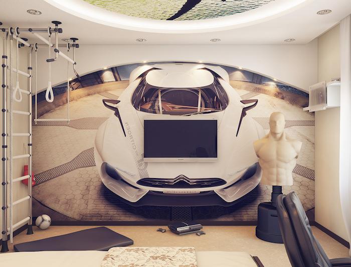 idee deco chambre garcon, murs blancs avec stickers voiture et éclairage led, fauteuil en cuir noir