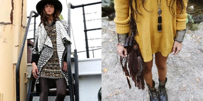 robe bohème chic, coiffure cheveux brun raides avec frange, pull over long loose en jaune moutarde, sac à main en marron avec franges et studs