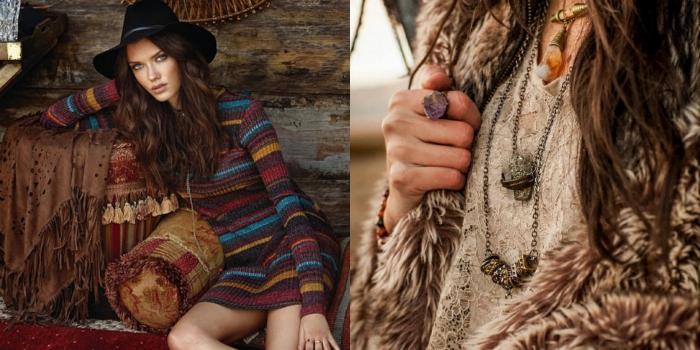 pull en laine, blouse en dentelle nuance champagne avec manteau en faux fur marron et bijoux ethniques