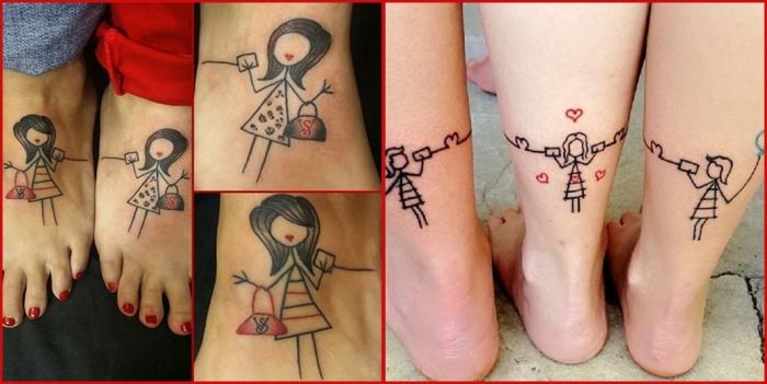tatouage meilleure amie, dessin en encre sur la peau, tatouage filles coquettes aux lèvres coeurs rouges