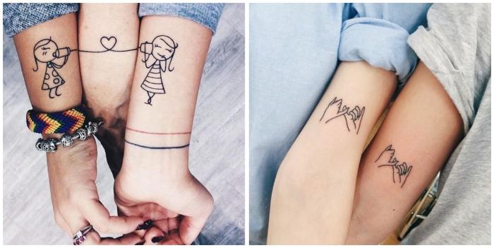 tatouage commun meilleure amie, dessin en encre sur la peau à design petites filles avec téléphones et coeur