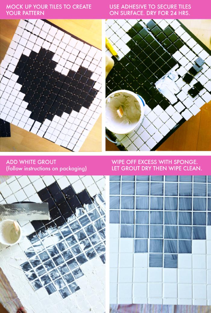 comment créer une mozaique en noir et blanc pour décorer une table basse, relooking meuble original sans peinture