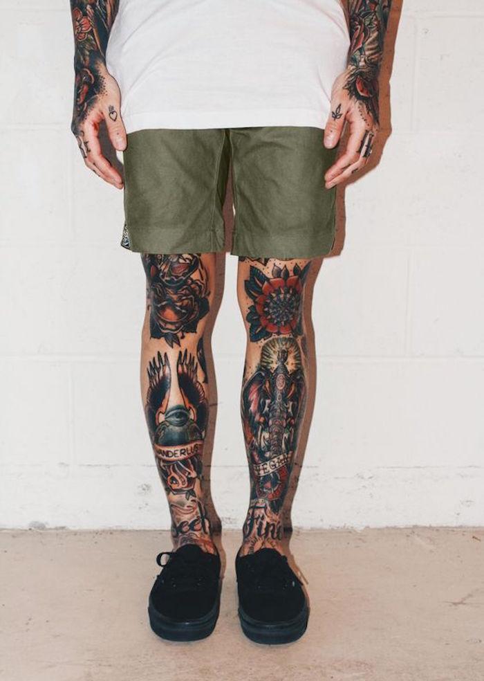 1001 id es tatouage jambe faites vous en de belles en 50 photos. Black Bedroom Furniture Sets. Home Design Ideas
