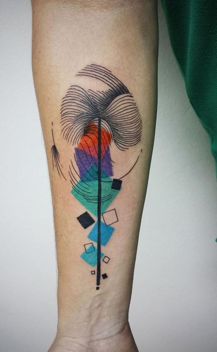 idée originale pour un tatouage geometrique coloré avec motif fleur stylisée