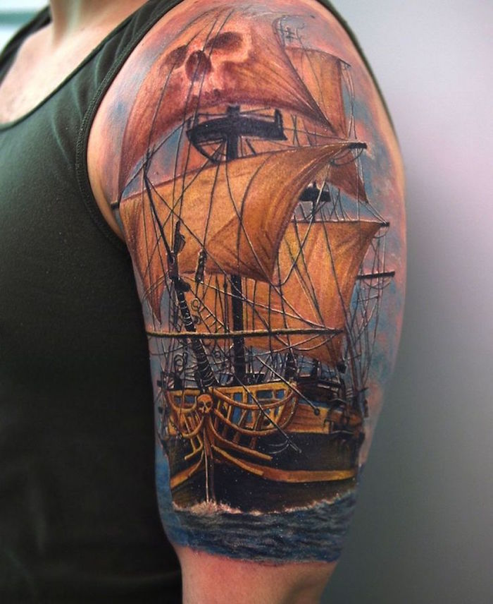 tatouage bateau pirate tattoo navire pirates couleurs