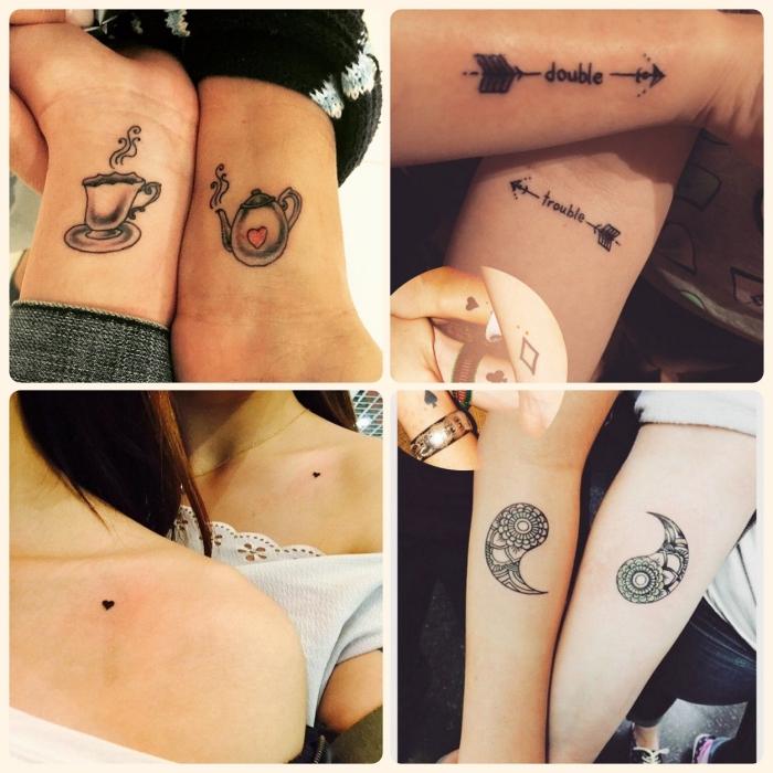 tatouage amitié femme, modèle de tattoo entre filles, tatouage design café et petits coeurs, tatouage avec lettres et flèches