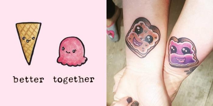 tatouage amitié femme, dessin en couleurs sur la peau à design amitié avec sandwichs au pain et beurre