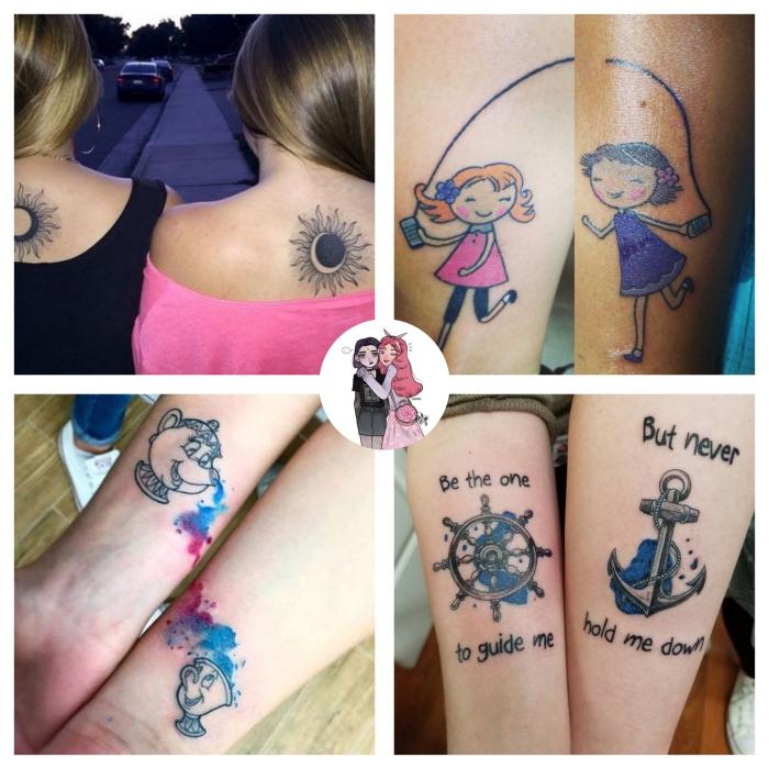 tatouage inseparable, comment choisir son tattoo entre amies, dessin en couleurs sur la peau à design animé
