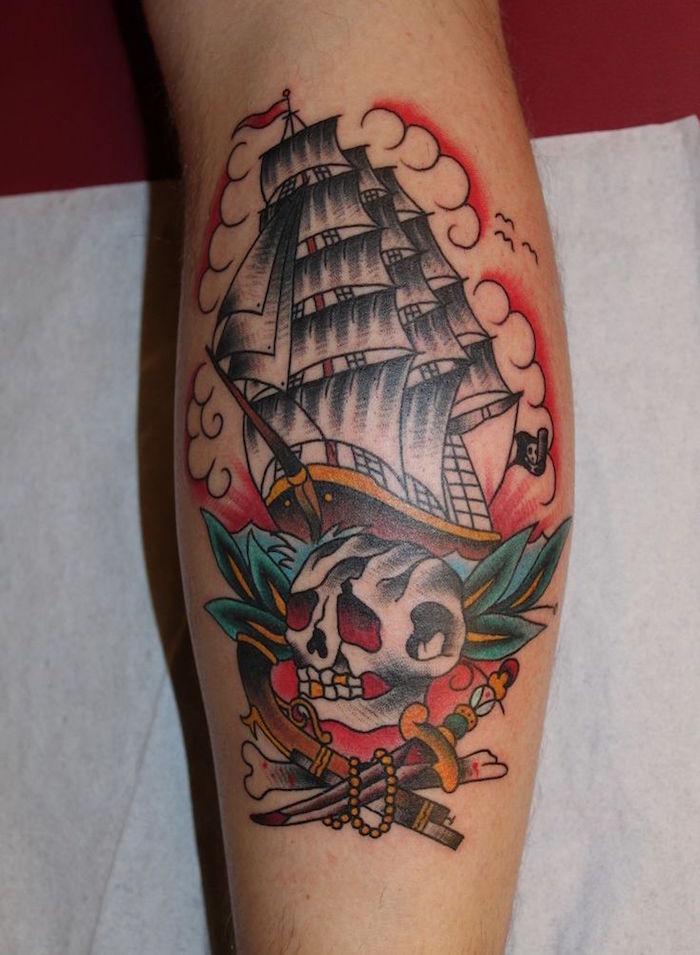 tattoo bateau symbole tatouage tete de mort pirate