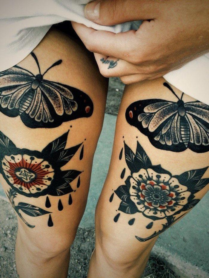 modele tatouage cuisse femme tatouages papillon mandala