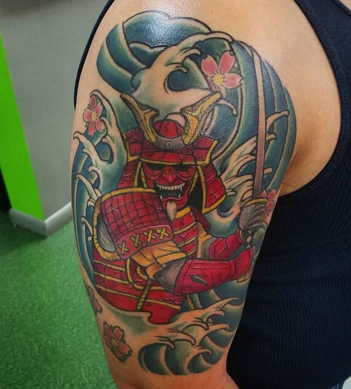 tatouage guerrier japonais tattoo masque samourai démon hannya