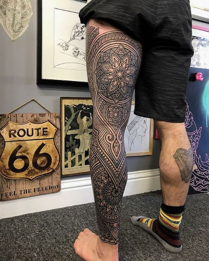 1001 id es tatouage jambe faites vous en de belles en 50 photos - Tatouage mandala homme ...