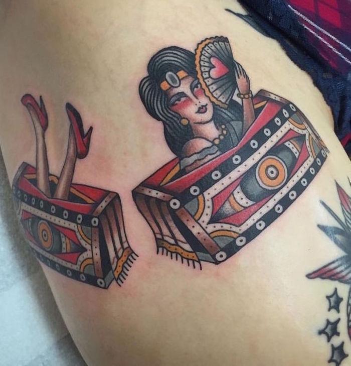 tatouage de pin up burlesque tattoo bohemienne
