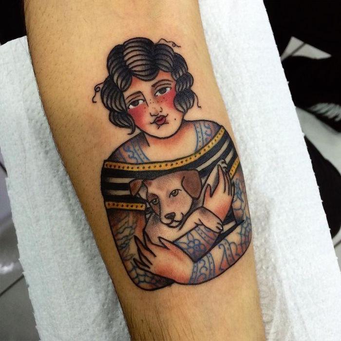 tatouage femme pin up tattoo et son chien