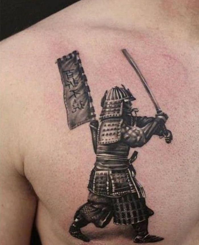 tattoo samurai en armure et katana qui part au combat