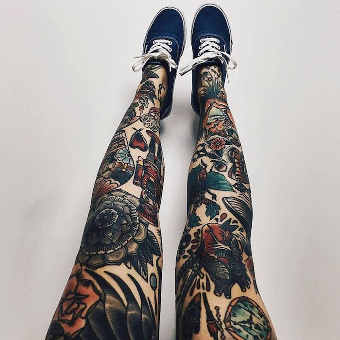 tatouage jambe femme style traditionnel old school