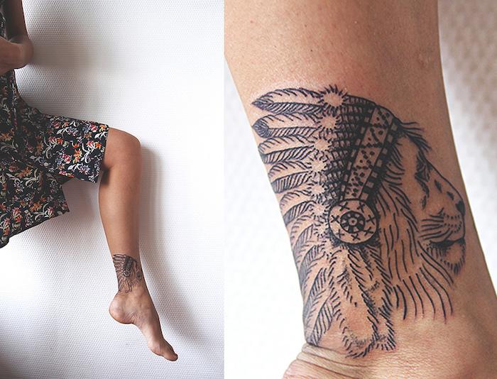 signification tatouage, robe noire aux motifs floraux orange et gris, dessin en encre à motifs animaux
