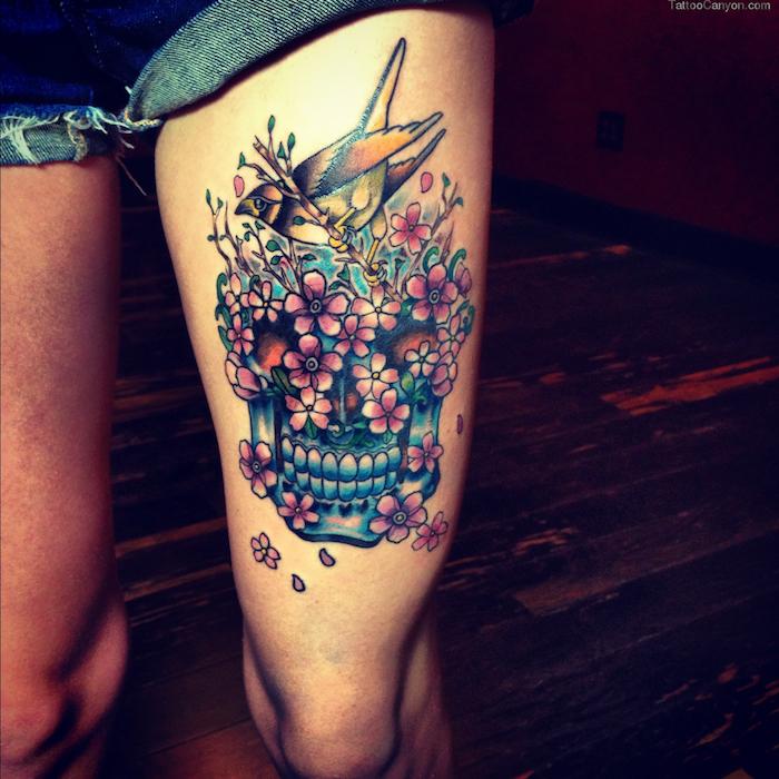 modele tatouage cuisse femme tete de mort mexicaine
