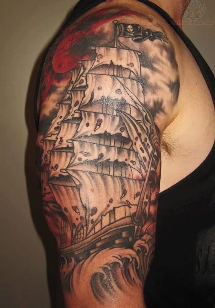 tatouage bateau tattoo pirate navire fantome