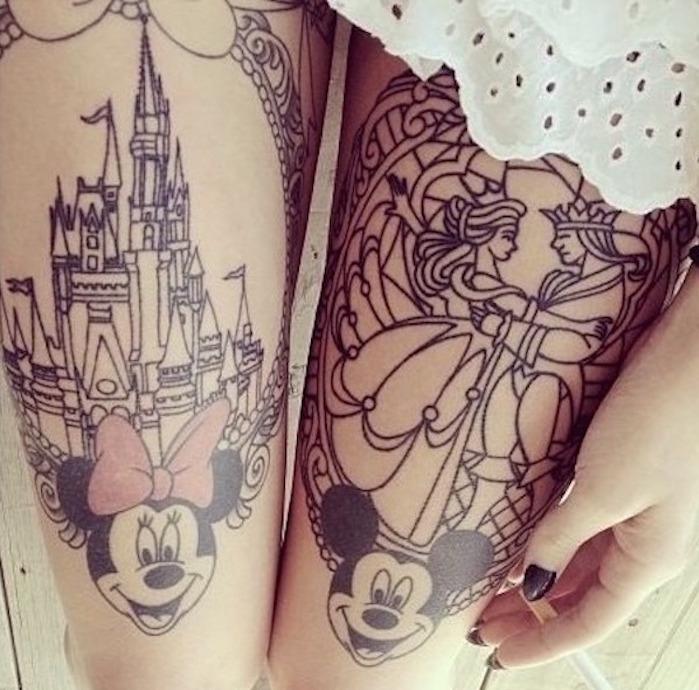tatouages cuisses disney tatoo sur la cuisse mickey minnie