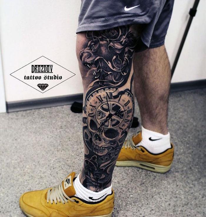 tattoo mollet homme tibia lion horloge