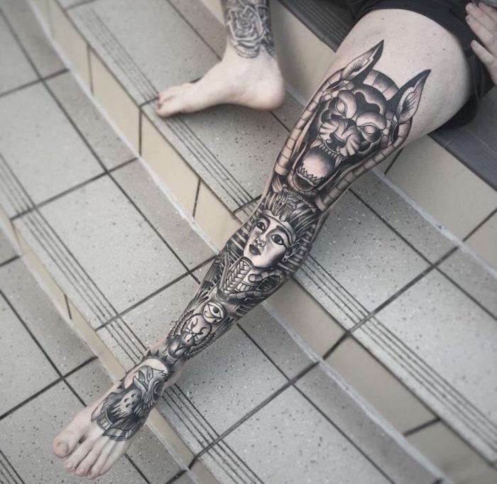 modele tatouage cuisse homme tatouages jambe égypte