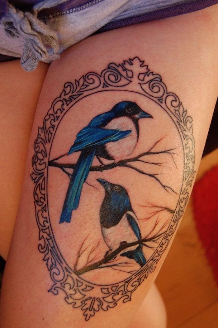 tatoo cuisse femme tatouage derriere la cuisse oiseaux