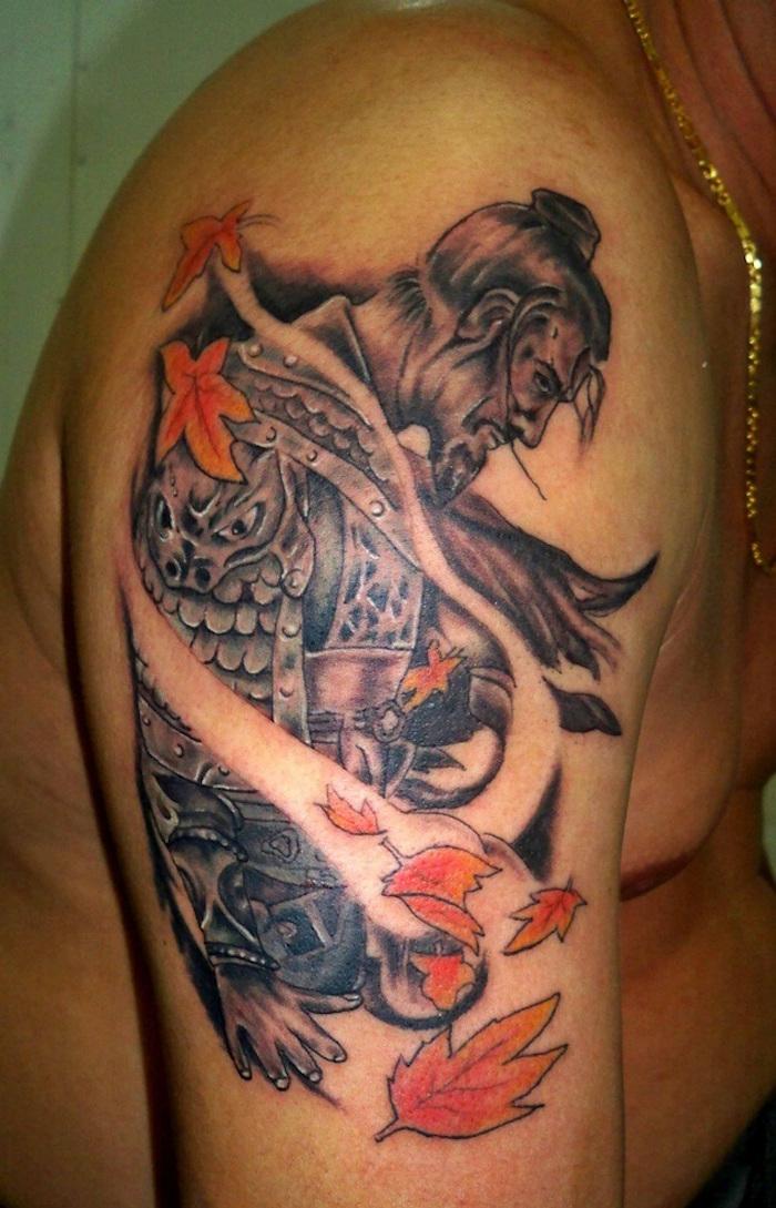 tattoo samurai concentration méditation sur épaule