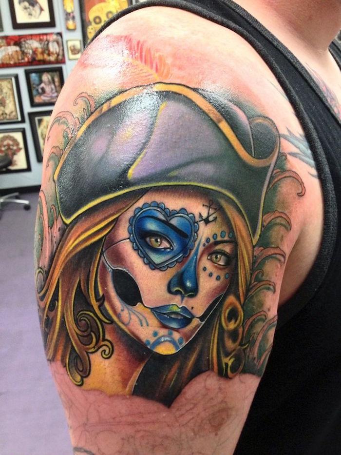 great tatouage tte de pirate femme calavera mexicaine with tatouage tete de mort mexicaine - Tte De Mort Pirate