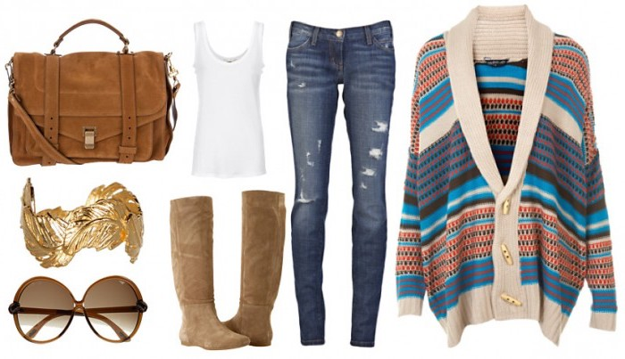 poncho femme avec boutons, assortir ses vêtements femme, sac à main et bottines en velours camel