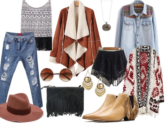 comment s habiller, débardeur blanc et noir à motifs aztèques avec sac à main et shorts noirs frangés