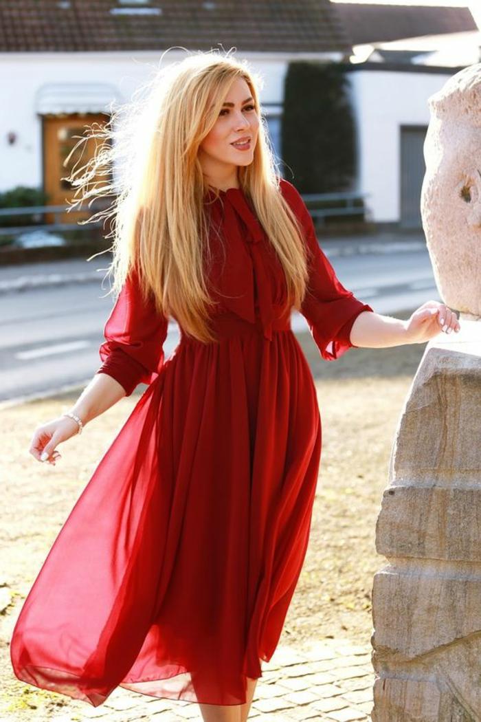 robe de cérémonie femme robe longue de soirée au col fermé avec taille soulignée en organza fine