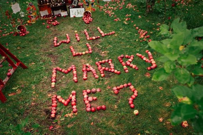 idée message pour mariage veux tu m epouser écrit en pommes rouges sur un gazon dans le jardin, idée proposition automne